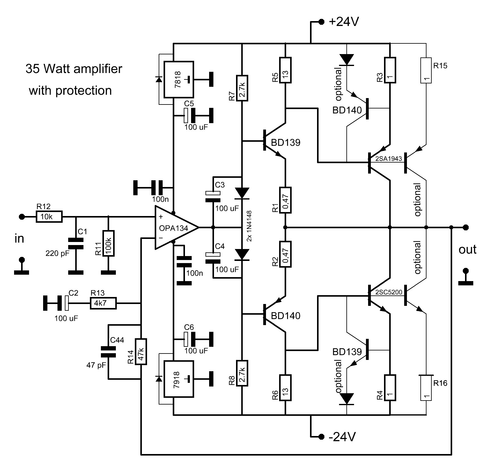 Basic Audio Amplifier Another 35 Watt Solid State The Main Diagram